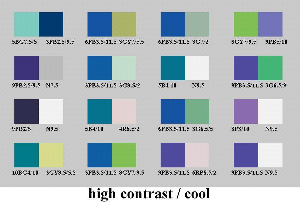 High Contrast And Cool Color Pairs